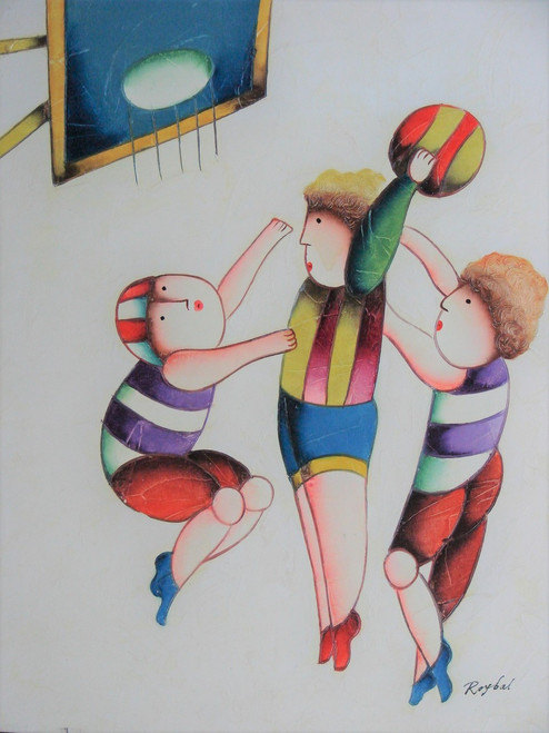 Small oil painting, stretched canvas but without frame, signed Roybal.  A group of children play basketball in colorful uniforms.