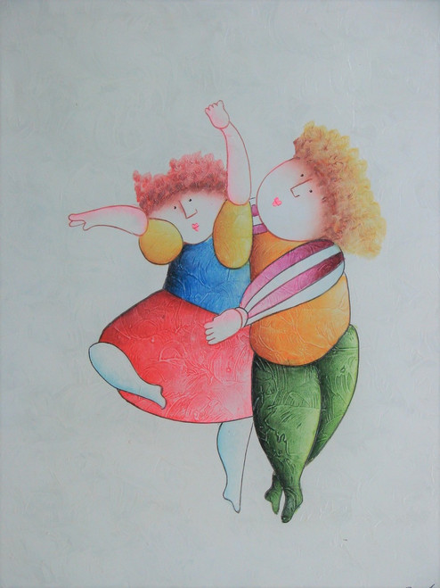 Small oil painting, stretched canvas but without frame, signed Roybal.  A boy and girl dance together in colorful costumes.