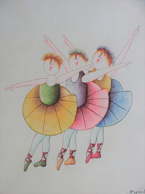 Small oil painting, stretched canvas but without frame, signed Roybal.  Three ballerinas dance in colorful tutus.