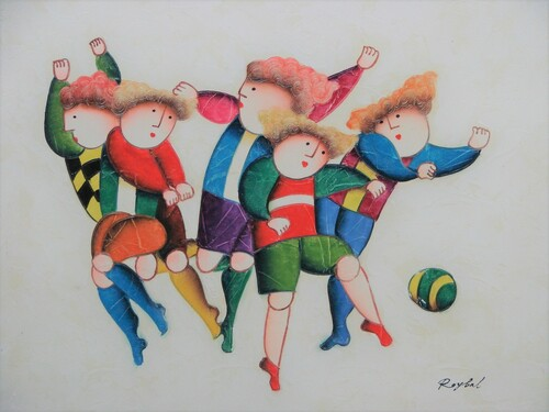 Small oil painting, stretched canvas but without frame, signed Roybal.  A group of children in colorful uniforms play soccer.
