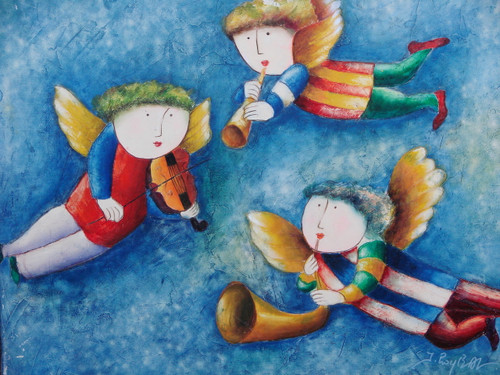 Small oil painting, stretched canvas but without frame, signed Roybal.  Three colorfully dressed angels play musical instruments together.