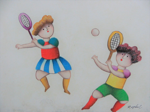 Small oil painting, stretched canvas but without frame, signed Roybal.  A pair of children play badminton in colorful clothing.