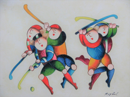 Small oil painting, stretched canvas but without frame, signed Roybal.  A group of children in colorful uniforms play field hockey.