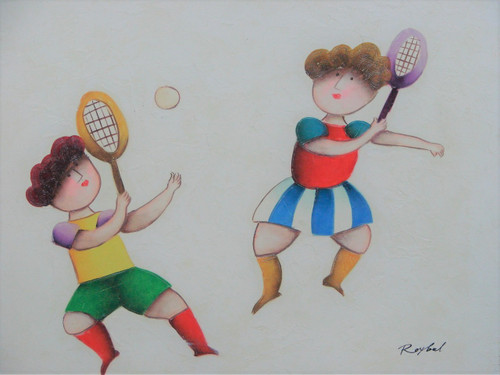 Small oil painting, stretched canvas but without frame, signed Roybal.   A couple of children play badminton in colorful clothing.