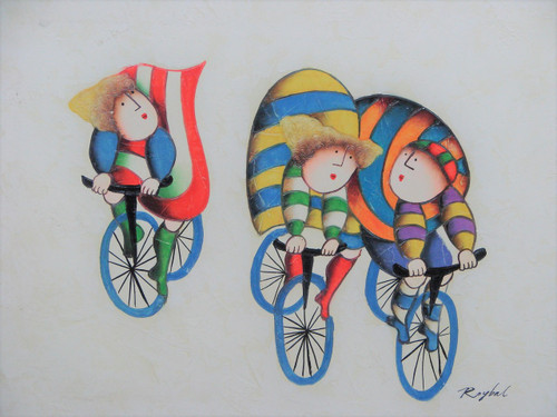 Small oil painting, stretched canvas but without frame, signed Roybal.  Three individuals in colorful clothing ride bicycles.