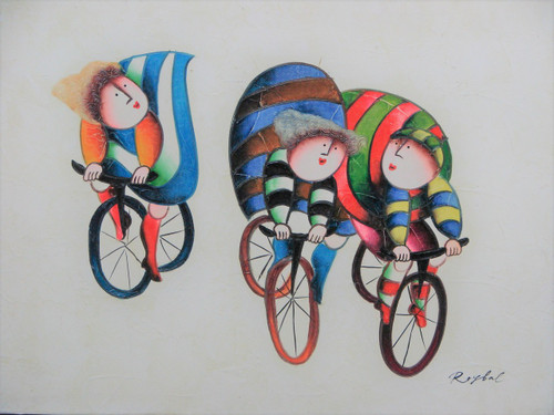 Small oil painting, stretched canvas but without frame, signed Roybal.  Three people in colorful clothing ride bicycles.