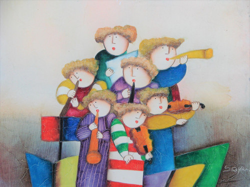 """Small oil painting, stretched canvas but without frame, signed """"Roybal"""".  A colorful orchestra of horns and violins."""
