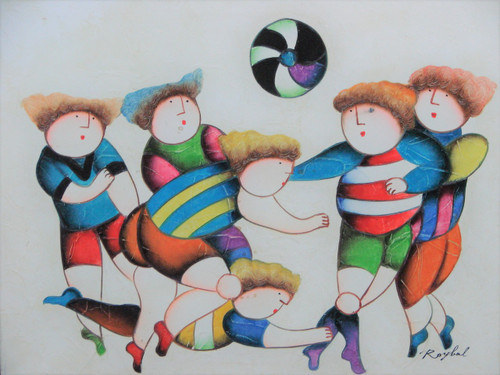 "Small  oil painting, stretched canvas but without frame, signed ""Roybal"".   Children play soccer in colorful uniforms."