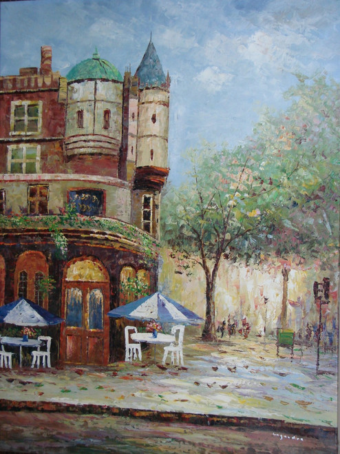Beautiful painting on canvas, stretched but without frame, signed by Lengrade.  A corner cafe with outdoor seating along a cobblestone street is the focus of this medium sized cityscape painting.