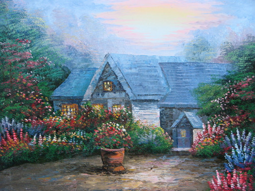 Beautiful medium sized painting on canvas, stretched but without frame, signed by Simon.  A dirt circle drive leads to a Thomas Kinkade inspired stone cottage surrounded by red, pink and blue flowering shrubs.