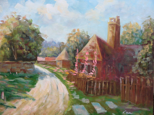 Beautiful medium sized painting on canvas, stretched but without frame, signed by V. Miller.  A wooden fence encircles an old cottage just off a dirt path.