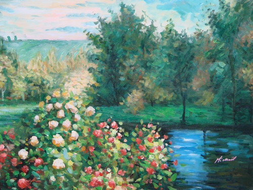 Beautiful medium sized painting on canvas, stretched but without frame, signed by Mickail.  Cream and red flowers grow on the edge of a dark blue pond with green grass and trees on the other side.