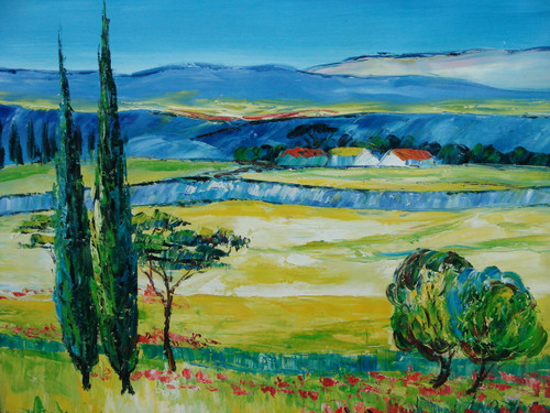 Beautiful medium sized painting on canvas, stretched but without frame, signed by Well.  Dark green trees grow in a field of light yellow that leads to a small town of white buildings with dark blue mountains in the background.