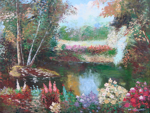 Beautiful medium sized painting on canvas, stretched but without frame, signed by M. Charpet.  Pink, yellow and blue flowers encircle a small blue pond with tall birch trees growing along the banks.