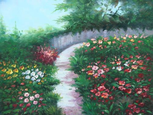 Beautiful medium sized painting on canvas, stretched but without frame, signed by Rene.  A narrow path curves through pink, blue, red and yellow flowers.