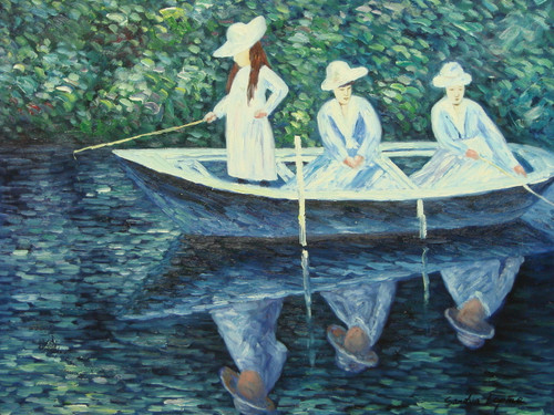 Beautiful medium sized painting on canvas, stretched but without frame, signed by Sandra Lepine.  Three girls dressed in white, fishing from a rowboat in a green-blue pond.