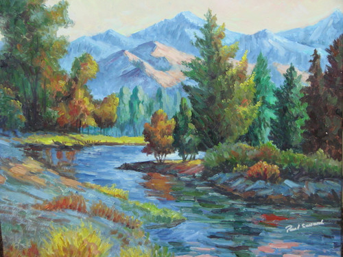 Beautiful medium sized painting on canvas, stretched but without frame, signed by Paul Seward.  A steel-blue river winds around green pine trees at the base of a mountain range.
