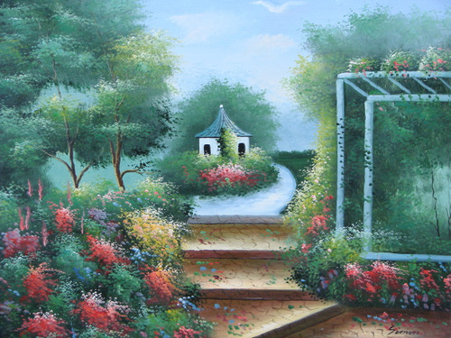 Beautiful medium sized painting on canvas, stretched but without frame, signed by Simon.  A white gazebo sits atop stone steps surrounded by green trees and colorful wildflowers.