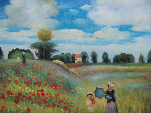 Beautiful medium sized painting on canvas, stretched but without frame, signed by Simon.  Woman and children walk in a field of tall grass and red flowers on a cloudy day, with green trees and a beige house on the edge of the meadow.