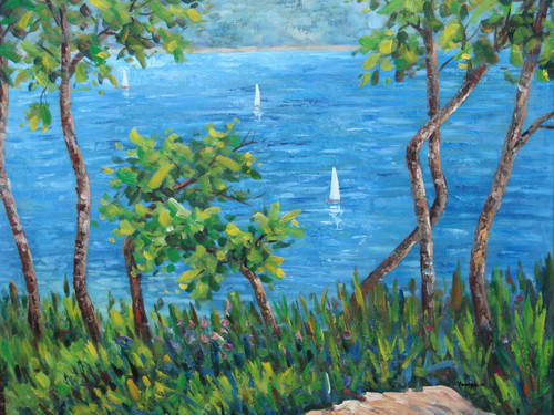 Beautiful medium sized painting on canvas, stretched but without frame, signed by Yovish K..  Bright green grass and tall trees grow atop a hill looking down on white sailboats floating in deep blue water.