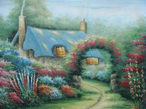 Beautiful medium sized painting on canvas, stretched but without frame, signed by Simon.  A Thomas Kinkade inspired cottage sits at the end of a dirt path, engulfed in red, pink and blue flowers.