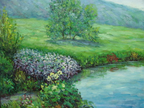 Beautiful small painting on canvas, stretched but without frame, signed by Sandra Lepine.  Lavender and yellow flowers grow near the edge of a blue pond surrounded by grassy, green hills.