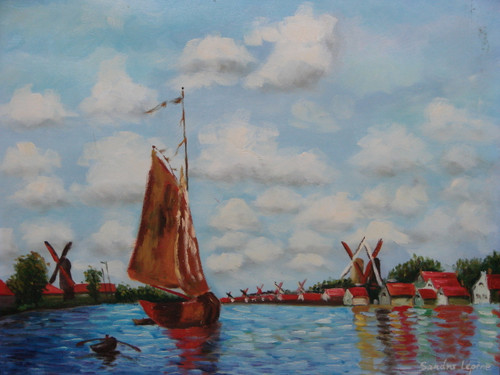 Beautiful painting on canvas, stretched but without frame, signed by Sandra Lepine.  On a cloudy day, a weathered sailboat floats in reflective blue water with windmills and white and red buildings lining the banks.