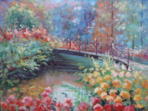Beautiful small painting on canvas, stretched but without frame, signed by Rene.  A muddy river flows under a small bridge surrounded by red and yellow flowers, and blue-green leafy trees.