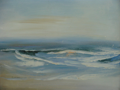 Beautiful small painting on canvas, stretched but without frame, signed by Lanser.  Blue-grey and white waves roll onto the beach on an overcast morning.