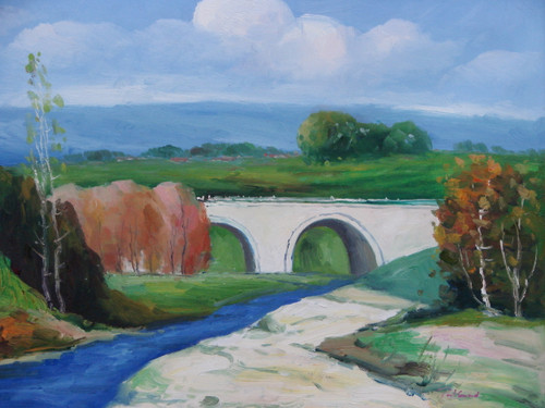 Beautiful small painting on canvas, stretched but without frame, signed by Paul Seward.  A deep blue river flows under a concrete bridge with sandy, green banks and autumn trees.