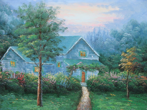 Beautiful small painting on canvas, stretched but without frame, signed by Simon.  A Thomas Kinkade inspired grey cottage sits a the end of a dirt path surrounded by dark green trees.