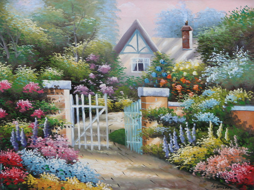 Beautiful small painting on canvas, stretched but without frame, signed by Simon.  A white cottage with blue accents sits behind a stone fence covered in green ivy and pink, purple and blue flowers.