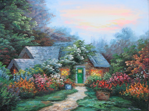 Beautiful small painting on canvas, stretched but without frame, signed by Simon.  A narrow dirt path leads to a Thomas Kinkade inspired cottage surrounded by green trees and flowering red, pink and blue shrubs.