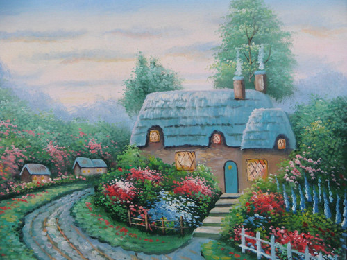 Beautiful small painting on canvas, stretched but without frame, signed by Simon.  A Thomas Kinkade inspired cottage is surrounded by red, pink and blue flowering bushes and green trees.