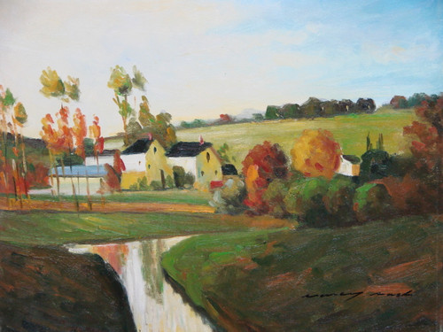 Beautiful painting on canvas, stretched but without frame, signed by Nancy Marsh.  A narrow white stream flows between green hills leading to a small town of beige buildings lined with orange and red trees.