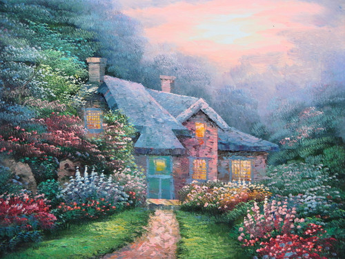 Beautiful small sized painting on canvas, stretched but without frame, signed by Simon.  Inspired by Thomas Kinkade, a cottage glows in the setting sun, surrounded by green shrubs with red, pink, blue and lavender colored flowers.