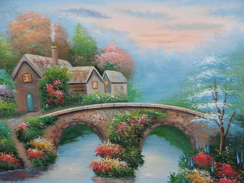 Beautiful medium sized painting on canvas, stretched but without frame, signed by Simon.  Inspired by Thomas Kinkade, a small cottage sits behind a stone bridge with colorful flowers, and green shrubs and trees.