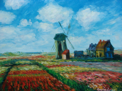 Beautiful medium sized painting on canvas, stretched but without frame, signed by Sandra Lepine.  A windmill and barn sit in a field filled with red, yellow and purple flowers.