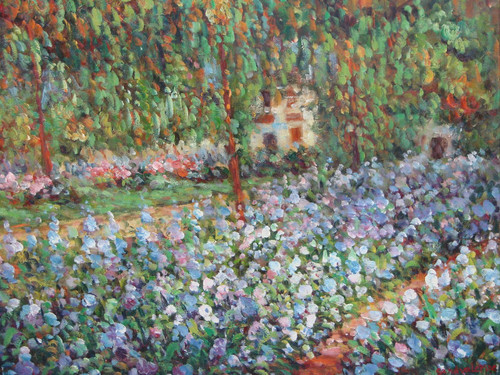 Beautiful medium sized painting on canvas, stretched but without frame, signed by Sandra Lepine.  Lavender, pink and blue flowers overtake the lawn in front of a beige house hidden by green trees.