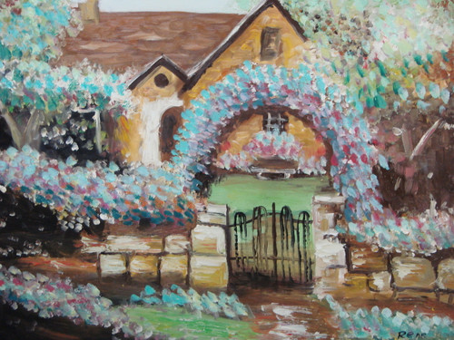 Beautiful medium sized painting on canvas, stretched but without frame, signed by Rene.  Light blue and pink flowers cascade along a stone wall and arch in the front lawn of a tan house.