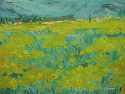 Beautiful painting on canvas, stretched but without frame, signed by Measlar.  A green meadow is filled with yellow flowers growing outside a village with white houses.