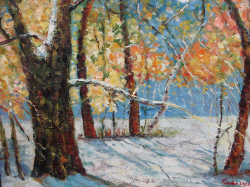 Beautiful medium sized painting on canvas, stretched but without frame, signed by Sandra Lepine.  Snow covers the ground in a wooded area, where yellow and orange leaves still hand on the trees.