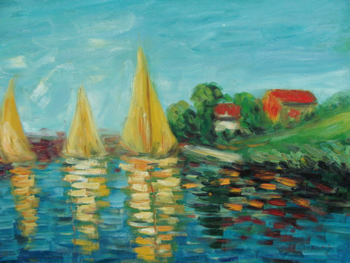 Beautiful medium sized painting on canvas, stretched but without frame, signed by Clizkaer.  Tall beige sailboats fill reflective, bright blue water with red barns on the green grass filled banks.