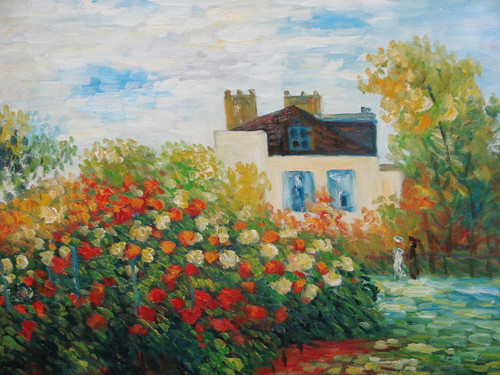 Beautiful medium sized painting on canvas, stretched but without frame, signed by Sandra Lepine.  Two woman walk in the gardens of flowering red and orange bushes, in front of a large cream colored home.