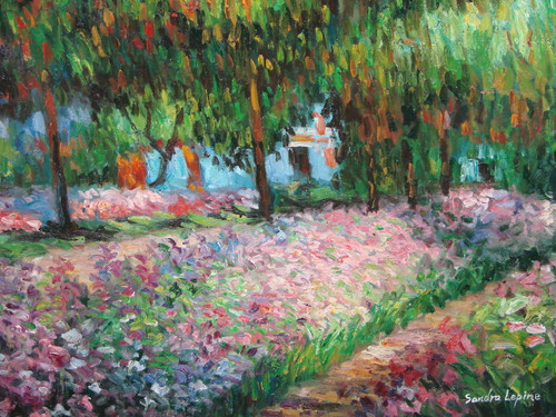 Beautiful painting on canvas, stretched but without frame, signed by Sandra Lepine.  Light pink and purple flowers fill the lawn in front of a large white house hidden by leafy green trees.
