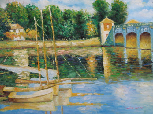 Beautiful painting on canvas, stretched but without frame, signed by Sandra Lepine.  Sailboats are docked in a wavy blue bay near a stone bridge.