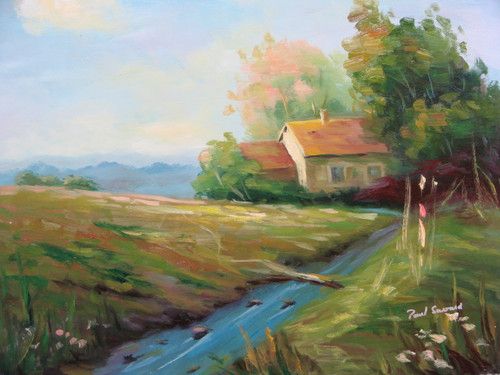 Beautiful painting on canvas, stretched but without frame, signed by Paul Seward.  A secluded cottage sit in the shade of tall green trees, surrounded by a field of light green and narrow blue creek.