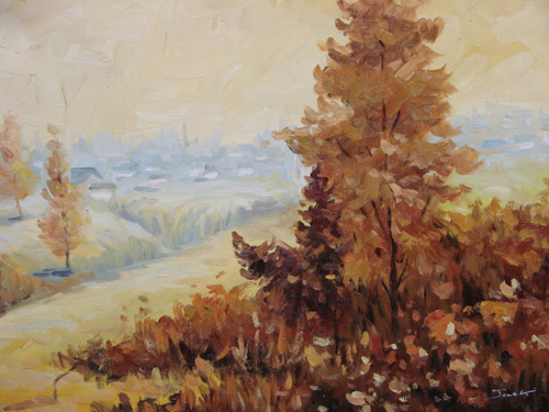 Beautiful medium sized painting on canvas, stretched but without frame, signed by Jack.  Brown and rust colored trees line a valley that leads to a village of houses.