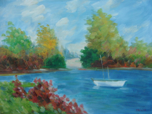 Beautiful medium sized painting on canvas, stretched but without frame, signed by Taylor.  A small white boat floats down a blue river with banks full of green and autumn colored trees.