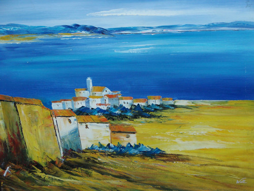 Beautiful painting on canvas, stretched but without frame, signed by Will.  A small village of white and stucco houses over look bright blue water and mountains in the distance.
